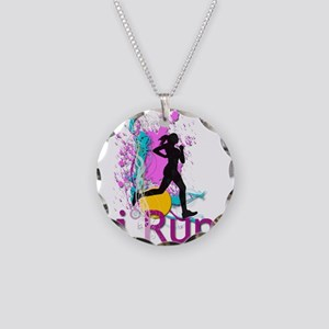 iRun Teal and Red Necklace Circle Charm