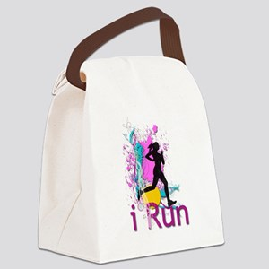 iRun Teal and Red Canvas Lunch Bag
