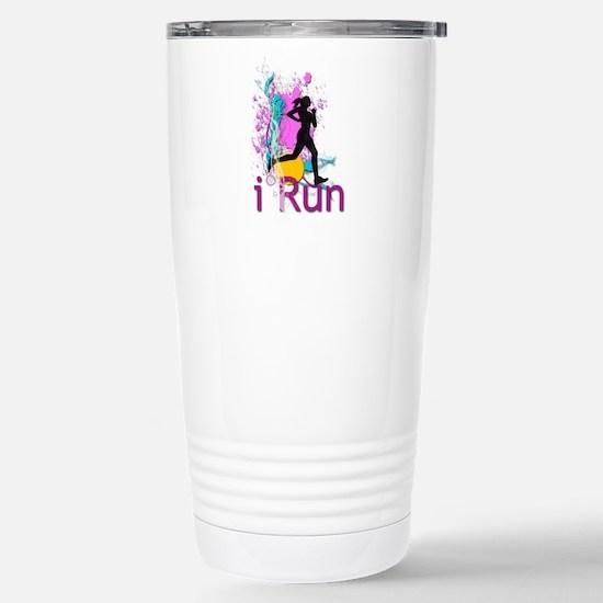 iRun Teal and Red Travel Mug