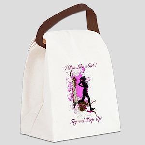 I run like a girl, try and keep u Canvas Lunch Bag