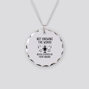 Not Knowing The Words Necklace Circle Charm