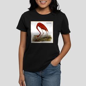 Audubon Flamingo Bird (Front) Women's Dark T-Shirt