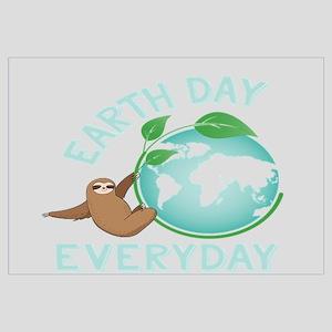 Earth Day Everyday Green Planet Sloth Ev Wall Art