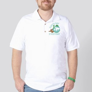 Earth Day Everyday Green Planet Sloth Golf Shirt
