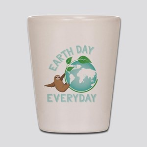 Earth Day Everyday Green Planet Sloth Shot Glass