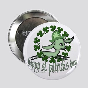 """Happy St. Patrick's Day Goat 2.25"""" Button"""