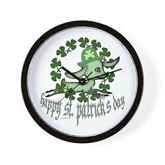 Happy St. Patrick's Day Goat Wall Clock