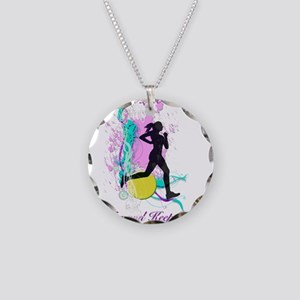 I run like a girl, try and k Necklace Circle Charm