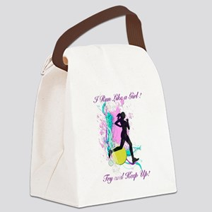 I run like a girl, try and keep u Canvas Lunch Bag