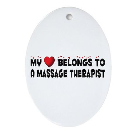 Belongs To A Massage Therapist Oval Ornament