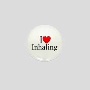 """I Love (Heart) Inhaling"" Mini Button"