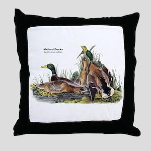 Audubon Mallard Ducks Throw Pillow