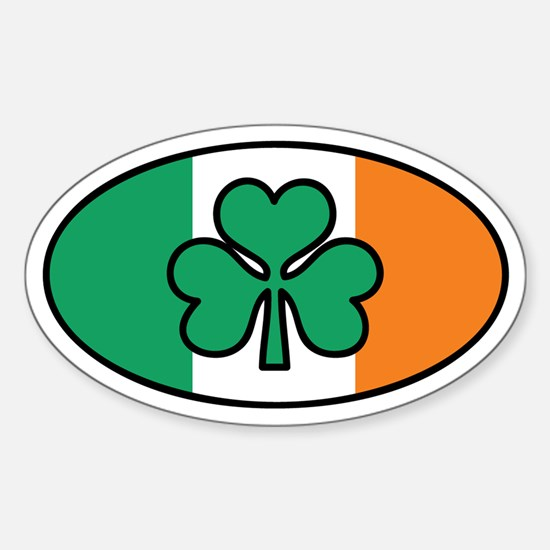 Irish Flag Oval Sticker (Euro)