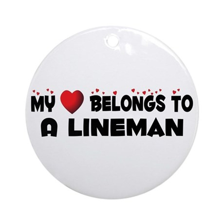 Belongs To A Lineman Ornament (Round)