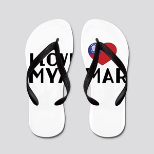 I Love Myanmar Flip Flops