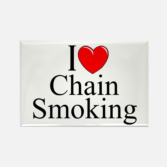 """""""I Love (Heart) Chain Smoking"""" Rectangle Magnet"""