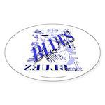 Blues on Blue Oval Sticker