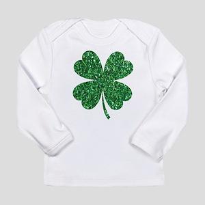 Green Glitter Shamrock st. par Long Sleeve T-Shirt