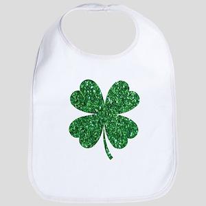 Green Glitter Shamrock st. particks Irish Baby Bib