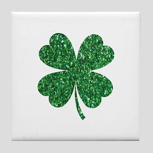Green Glitter Shamrock st. particks I Tile Coaster