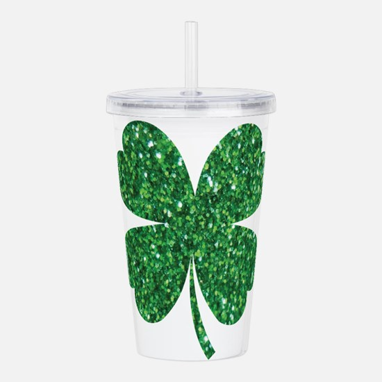 Green Glitter Shamrock Acrylic Double-wall Tumbler