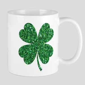 Green Glitter Shamrock st. particks Irish Mugs