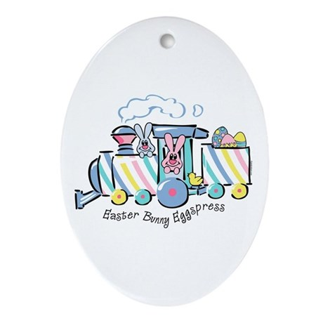 Easter Bunny Eggspress Oval Ornament