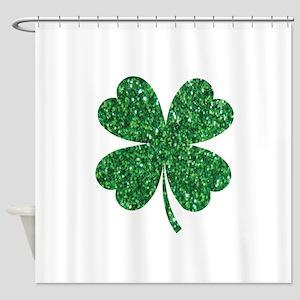 Green Glitter Shamrock st. particks Shower Curtain