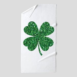 Green Glitter Shamrock st. particks Ir Beach Towel