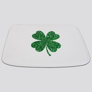 Green Glitter Shamrock st. particks Irish Bathmat