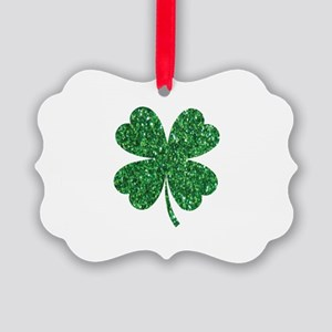 Green Glitter Shamrock st. partic Picture Ornament