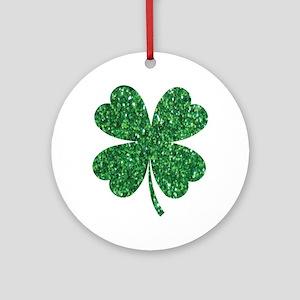 Green Glitter Shamrock st. particks Round Ornament