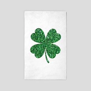 Green Glitter Shamrock st. particks Irish Area Rug