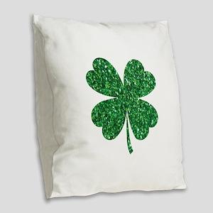 Green Glitter Shamrock st. par Burlap Throw Pillow