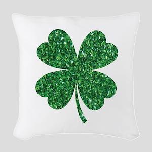 Green Glitter Shamrock st. par Woven Throw Pillow