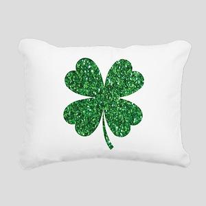 Green Glitter Shamrock s Rectangular Canvas Pillow