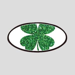 Green Glitter Shamrock st. particks Irish Patch