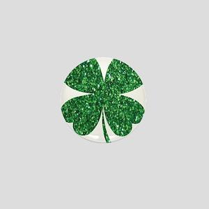 Green Glitter Shamrock st. particks Ir Mini Button
