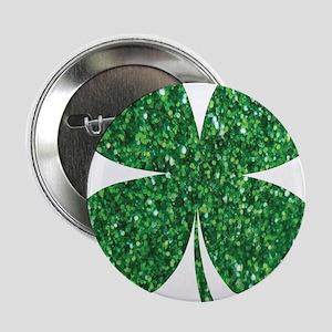 """Green Glitter Shamrock st. particks I 2.25"""" Button"""