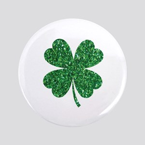"Green Glitter Shamrock st. particks Ir 3.5"" Button"