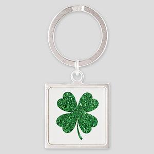 Green Glitter Shamrock st. particks Iris Keychains