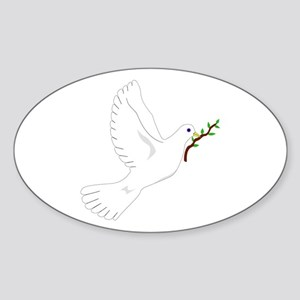 Dove with Olive Branch Oval Sticker