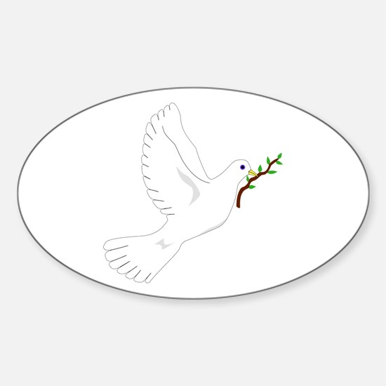 Dove with Olive Branch Oval Decal