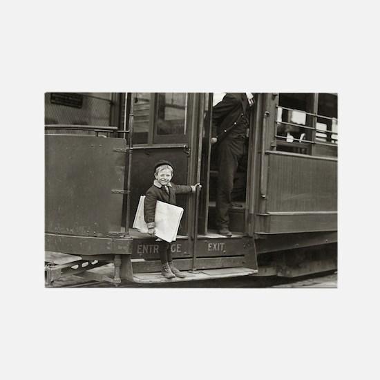Newsboy Riding Trolley, 1910 Magnets