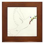 Dove with Olive Branch Framed Tile