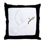 Dove with Olive Branch Throw Pillow