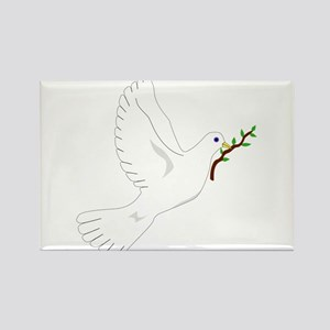 Dove with Olive Branch Rectangle Magnet
