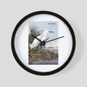 Audubon Snowy Egret Bird Wall Clock