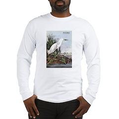 Audubon Snowy Egret Bird (Front) Long Sleeve T-Shi