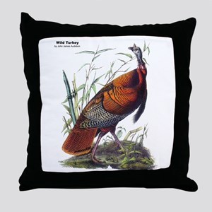 Audubon Wild Turkey Bird Throw Pillow